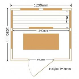 Infrapunasauna Kiiltävä koko: 1200 x 1050 x 1900 mm