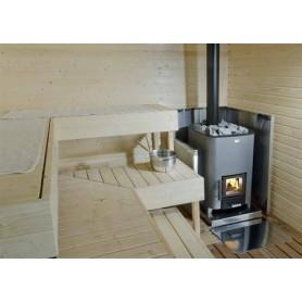Tarvikkeet puulämmitteiseen kiuaslämmittimeen Narvi Radiant -vaippa saunauuniin, ruostumaton. Korkeus 1230 mm
