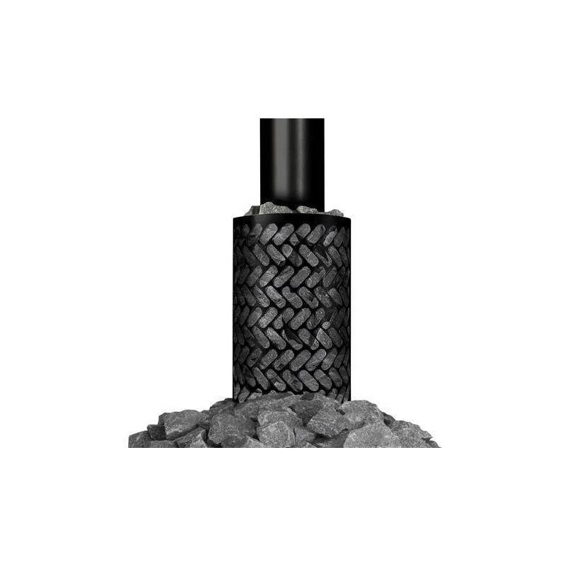 Tarvikkeet puulämmitteinen kiuas kivi kori musta (pyöreä savuputki)