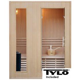 Sauna Perinteinen klassikko 3 hengelle Perinteinen sauna 3 hengelle.Koko: 1530 x 1100 x 1900 mmPuu: Hemlock