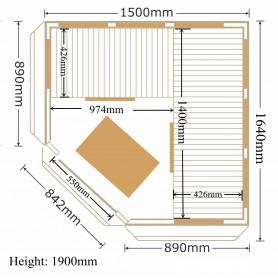 Kulmasauna Infrapuna Apollon Turmaline Corner Hemlock Infrapunasauna 4 henkilölle Koot: 1500 x 1500 x 1900 mmPuu: Hemlock