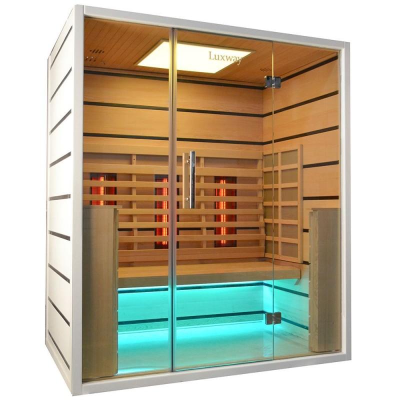 Sauna Infrapuna 3-4 hengelle Valitse 3 henkilöä Infrapunasauna 3 henkilölle Koot: 1630 x 1050 x 1900 mmPuu: Hem lidHeat