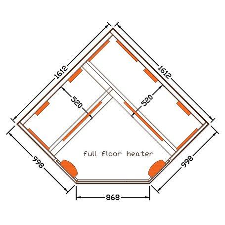 Kulmasauna Infrapuna Valitse Kulma Infrapunasauna 4 hengelle Koot: 1610 x 1610 x 1900 mmPuu: Valkoinen Hemlock-lämmitysjärjestel