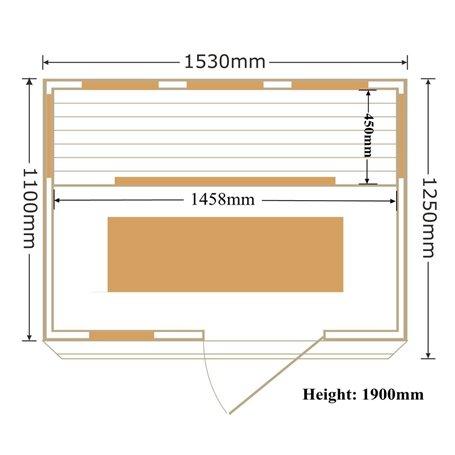 Sauna Infrapuna 3-4 henkilölle Apollon Tourmaline 3 henkilölle Infrasauna 3 henkilölle Koot: 1530 x 1100 x 1900 mmPuu: Ce