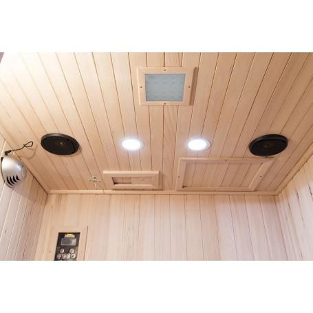 Varustettu väriterapialla, Bluetooth-musiikkijärjestelmällä, lukulampuilla ja ilmanpuhdistimella, jossa on ionisaatio ja otsonit