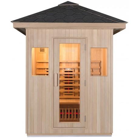 Ilmava infrapunasauna, karkaistua lasiovea kehyksessä sekä kaksi ikkunaa vaalealle saunalle, josta on hienot näkymät.