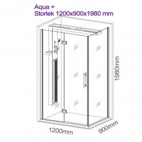 Suihkukaapin infrapuna-Aqua Plus suihkunurkka Ulkomitat.Pituus: 1200 mmKorkeus: 1980 mmLeveys: 900 mm Lähtevä tuote!